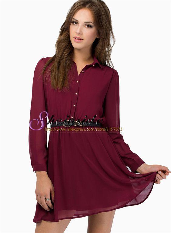 2015 Novo Marca Designer Moda Outono Mulheres elegante Wine Escritório Red camisa de manga longa lapela Belt Chiffo Vestido