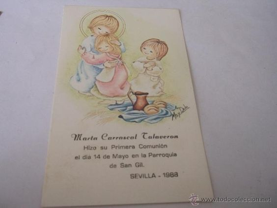 RECORDATORIO PRIMERA COMUNION - DIBUJOS MAY DOLE (Postales - Religiosas y Recordatorios)
