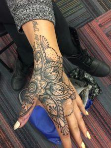 Big And Tiny Hand Tattoo Mandala Hand Tattoos Hand Tattoos For Women Tattoos