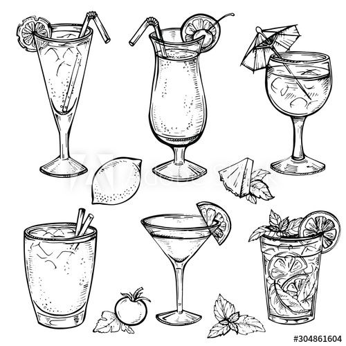 Cocktail Drinks Illustration Clip Art Watercolor Clipart Icons Wine Liquor Mojito Cocktails Bundle Hand Drawn Planner Sticker Graphics