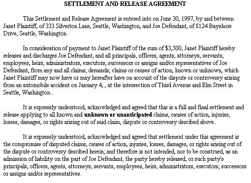Example Document for Settlement and Release Agreement release - sample actor release form