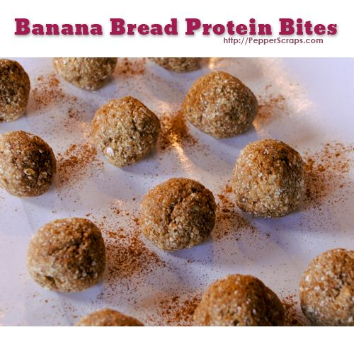 Banana Bread Protein Bites - made these w chocolate protein powder ...