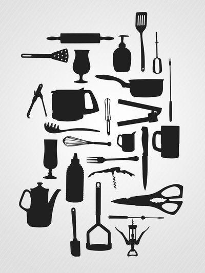 Kitchen essentials, artprint by ValerieD.