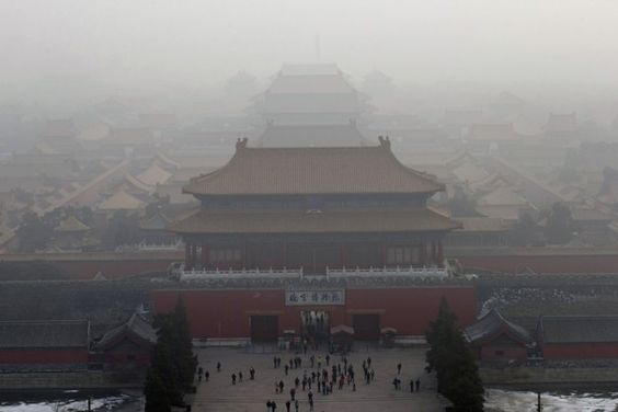 Inspirational  Ng Han Guan Associated Press Visitors gather near an entrance to the Forbidden city during a very hazy day in Beijing Sunday Jan