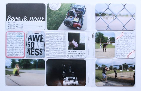Pages by Juli Jones featuring the Jade Edition, Baseball Themed Cards, and Grey Alpha Stickers.