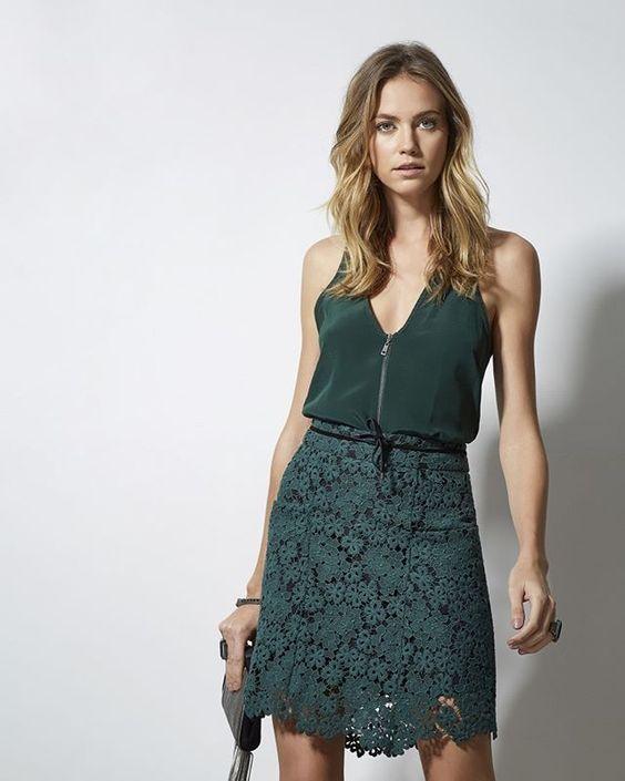 Tudo verde: #saia de renda + #top de seda com detalhe em zíper! #animalebrasil #HíbridosAnimale