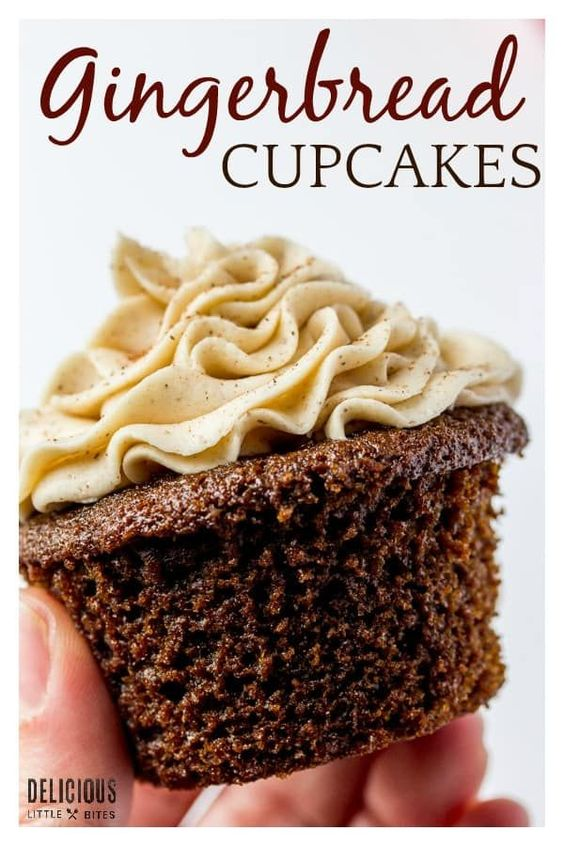 Gingerbread Cupcakes with Cinnamon Vanilla Buttercream Frosting