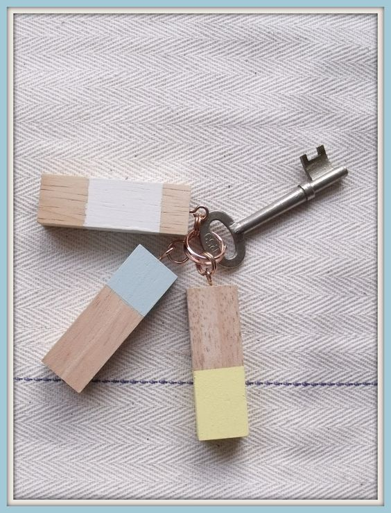 DIY Recycled Jenga Block Key Chain Tutorial:
