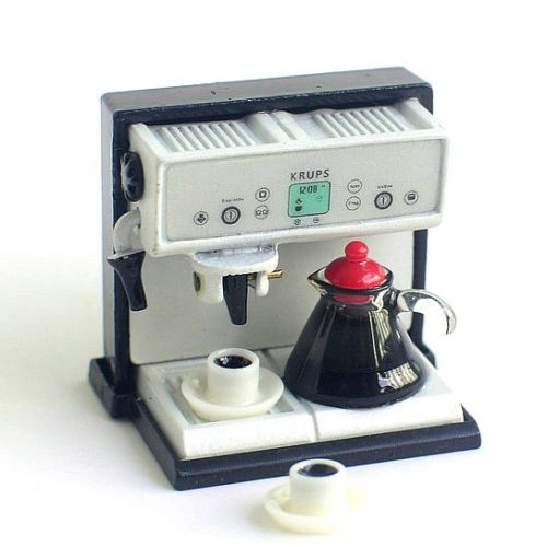 1:12 Dollhouse Miniature Kitchen Expresso Coffee Maker Machine with Pot Cup Set