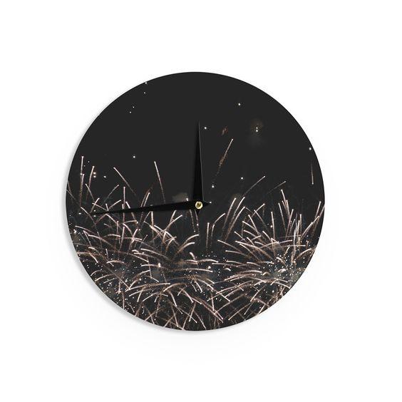 "Catherine McDonald ""Fireworks"" Black White Wall Clock"