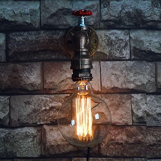 Nordique Loft Style Fer Pipe À Eau Lampe E27 Edison Mur applique RH Industrielle Vintage Mur Luminaires Pour La Maison Intérieure éclairage(China (Mainland))