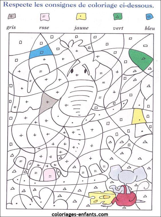 Coloriage magique tout ge coloriage magique pinterest - Coloriage magique elephant ...