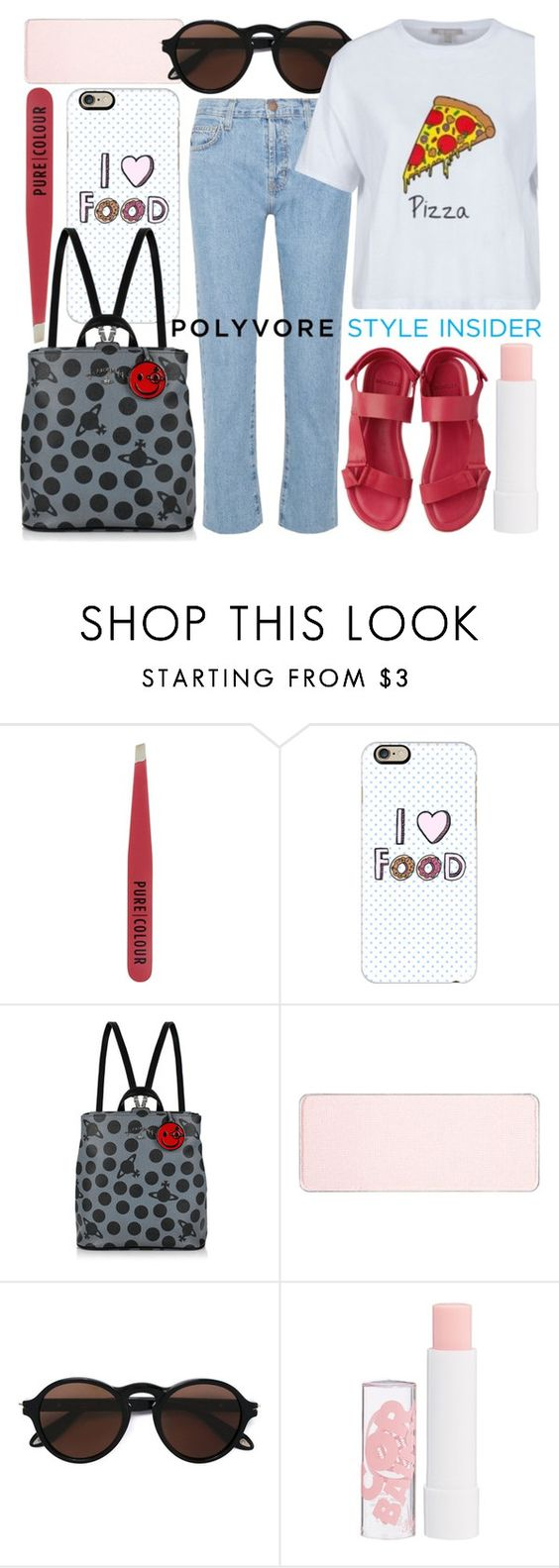 """pizzaholic"" by foundlostme ❤ liked on Polyvore featuring New Look, Casetify, Vivienne Westwood, shu uemura, Givenchy, Barry M, Current/Elliott, backpacks, contestentry and PVStyleInsiderContest"