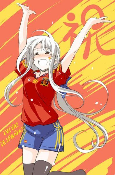 "Fem!Prussia - Actually... I believe it is Fem!Spain... hence the ""¡Viva! ¡España!"" and the Spanish flag on her cheek and shorts"