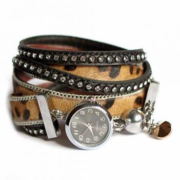 Designerschmuck| Designer Schmuck online bestellen-Wickelarmband-Uhr aus Leder mit Leopard Print in Braun-Schwarz mit Swarovski Strass-Steinen
