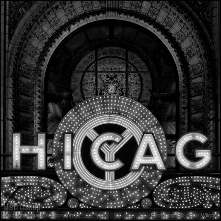 Black and White Photos of The Chicago Theater Sign - Metroscap.com