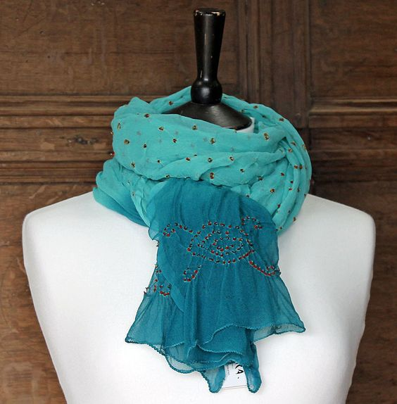 Turquoise Silk Crepe Scarf with Dots