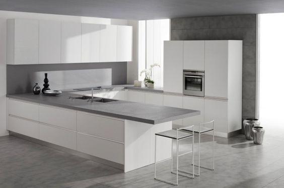 Kitchen Design  White Cabinets White Chairs Grey Floor White Grey - preisliste nobilia küchen