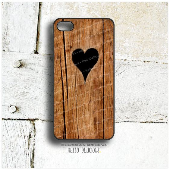 iPhone 5 Case Wood Print, iPhone 5s Case Heart, iPhone 4 Case, iPhone 4s Case, Rustic iPhone Case, Wood Texture iPhone Cover T32 on Etsy, £11.86