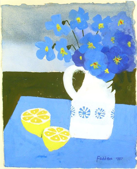 Mary Fedden (can tie in with painted paper collage still life) foreground, middle ground, background.