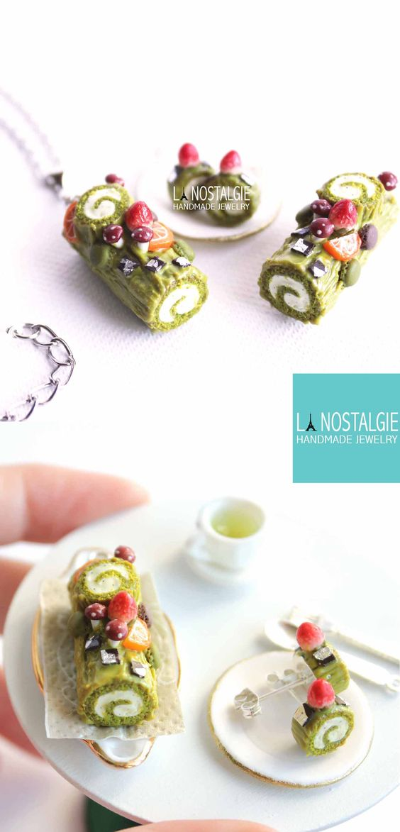 Beautiful Pistachio Christmas Yule Log cake charm pendant necklace. Miniature food art jewelry designed and handmade in france only at La Nostalgie Jewelry #xmas #gift