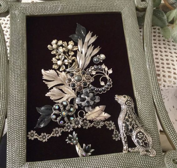 Framed Jewelry Art Dog Picture Silver Gray Black by VintageRedo