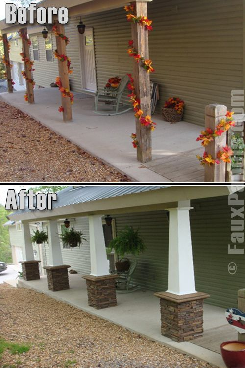 Porch Columns Upgrade with Stacked Stone Base via diystyle.biz: