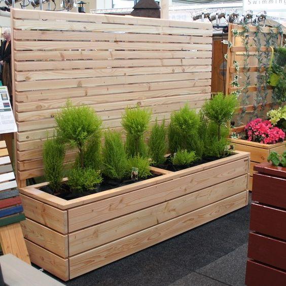 Pflanzkasten aus Holz, mit Sichtschutz Natur, L 212 cm  H 180 cm