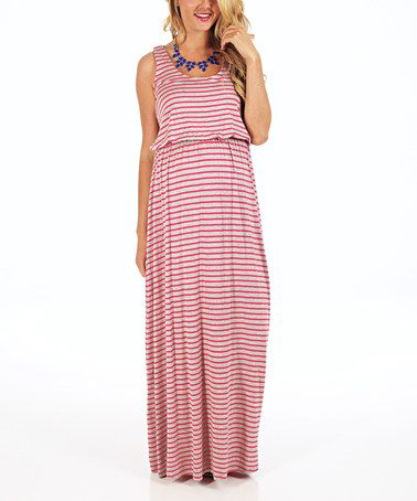 Another great find on #zulily! Gray & Fuchsia Stripe Maternity Maxi Dress - Women by PinkBlush Maternity #zulilyfinds
