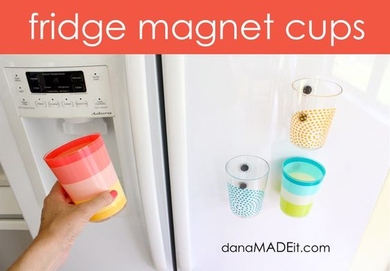{TUTORIAL: fridge magnet cups} Brilliant. How many cups do your kids use in a day?