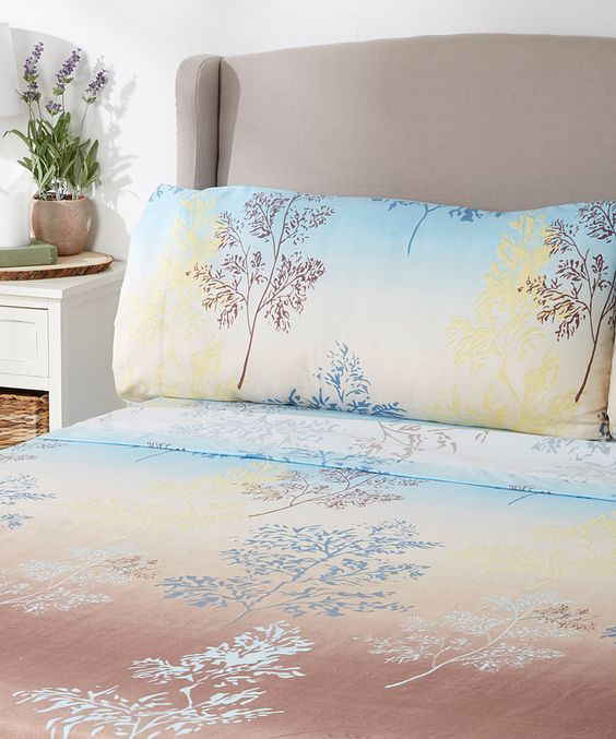 Look what I found on #zulily! Blue Ombré Tree Branch Sheet Set by Peach Couture #zulilyfinds