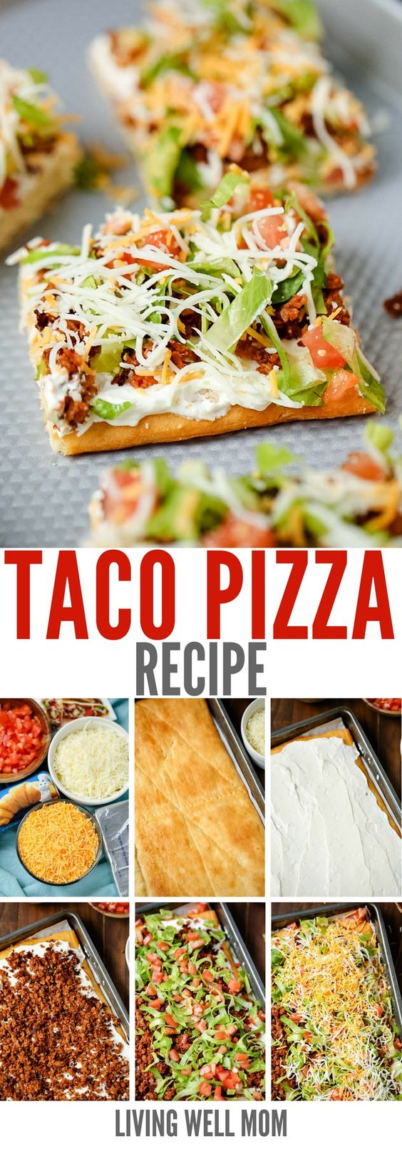 """Taco Pizza Recipe via Living Well Mom - this is a great as an easy family dinner (you can even make it the night before) or a tasty appetizer. Kids love this recipe and the cream cheese/sour cream """"sauce"""" and spicy taco flavor are a hit with adults too."""