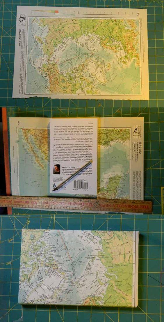 réutiliser le papier d'une carte des continents en le transformant en emballage créatif