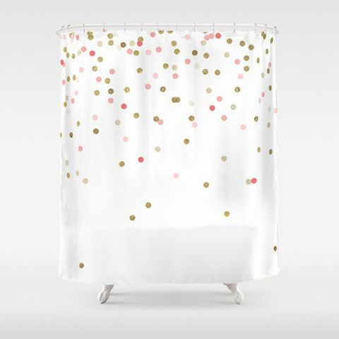 Gold Glitter Dots in scattered pattern Shower Curtain | Products ...