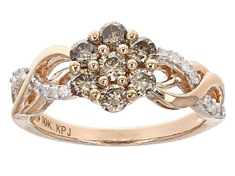 Champagne And White Diamond 10k Rose Gold Ring 60ctw Hgd048 With Images Sterling Silver Pendants Filigree Ring Gold Sterling Silver Earrings