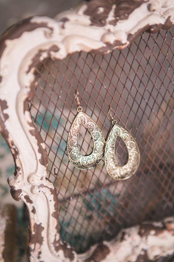 Oval + Brass Earrings
