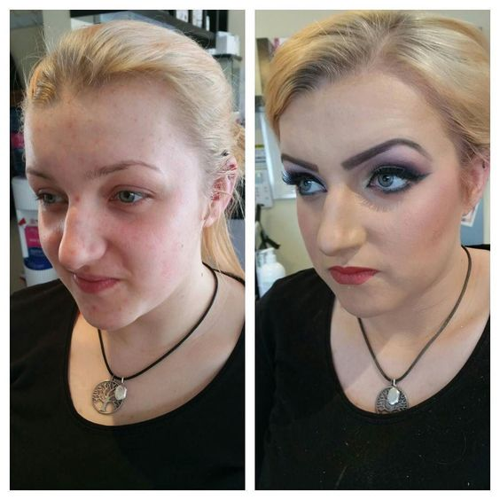 Before and after reception look