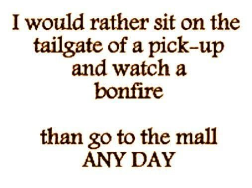 I would rather sit on the tailgate of a pick-up and watch a bonfire than go to the mall ANY DAY- Amen