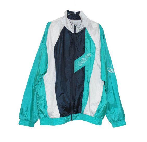 ADIDAS turquoise vintage windbreaker XL plus size unisex adidas windbreaker 90s retro adidas windbreaker adidas jacket