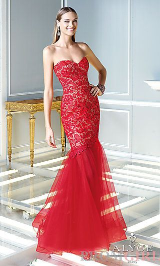 Floor Length Strapless Sweetheart Lace Dress at PromGirl.com