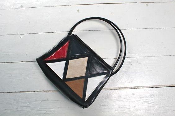 vintage 1960s bag - HARLEQUIN color block handbag by MsTips on Etsy https://www.etsy.com/listing/231867401/vintage-1960s-bag-harlequin-color-block