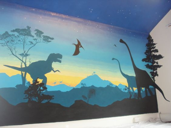 Dinosaurs boys bedroom wall mural artwork david for Dinosaur mural ideas