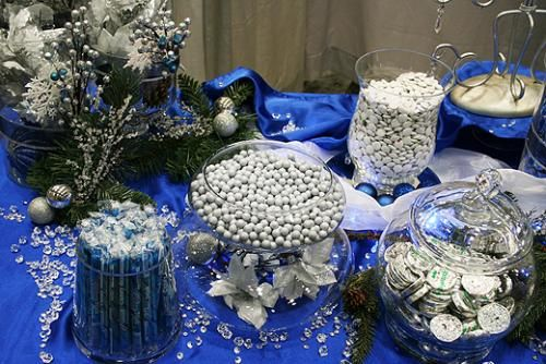 Blue and silver winter wonderland candy buffet.