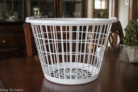 Transform A Plain Dollar Store Laundry Basket Into A Pretty Burlap