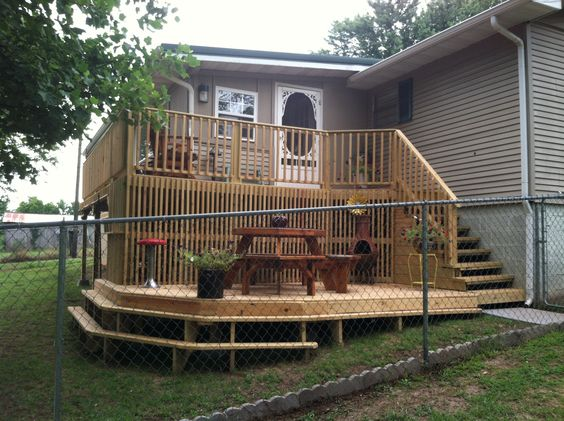 Deck Ideas For Bi Level Homes: Split Level Porch Deck On My Home,my First One