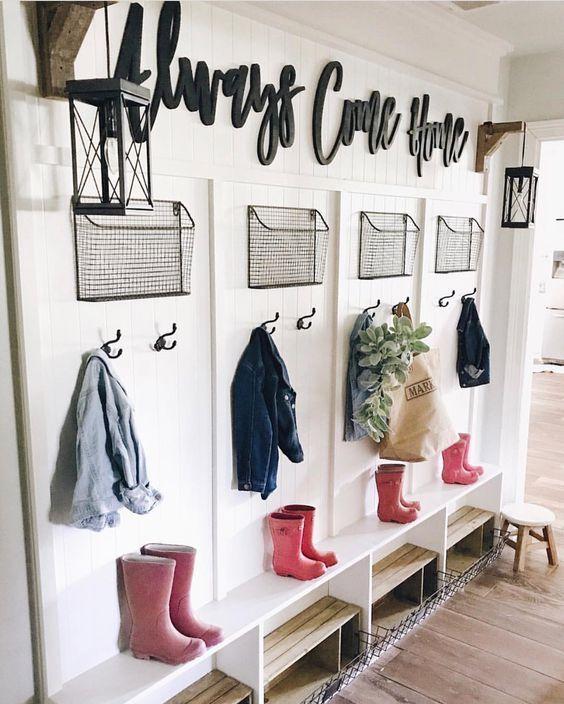 Mud Room Hallway Metal Shelves And Hooks Home Home Decor Home Remodeling