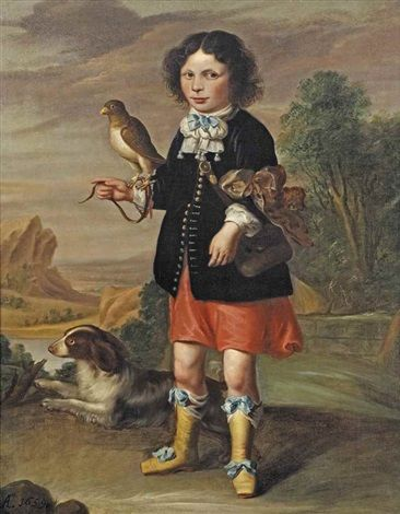 Portrait of a five-year-old boy, full-length, with a falcon and a dog before an extensive river landscape by Dutch School (17/18)