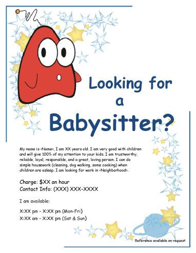Funny creature babysitting flyer babysitting flyer for Babysitting poster template