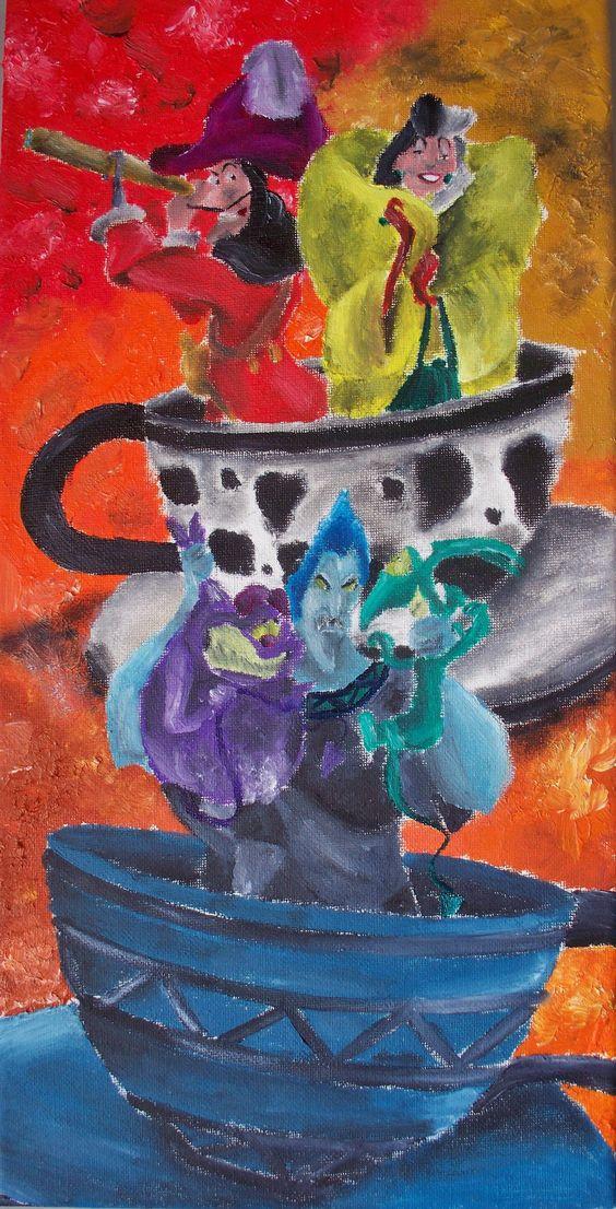 Captain Hook, Cruella and Hades in Tea Cup