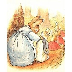 """'The Tale of Peter Rabbit', 1902 -- Beatrix Potter. """"Now run along, and don't get into mischief. I am going out."""""""